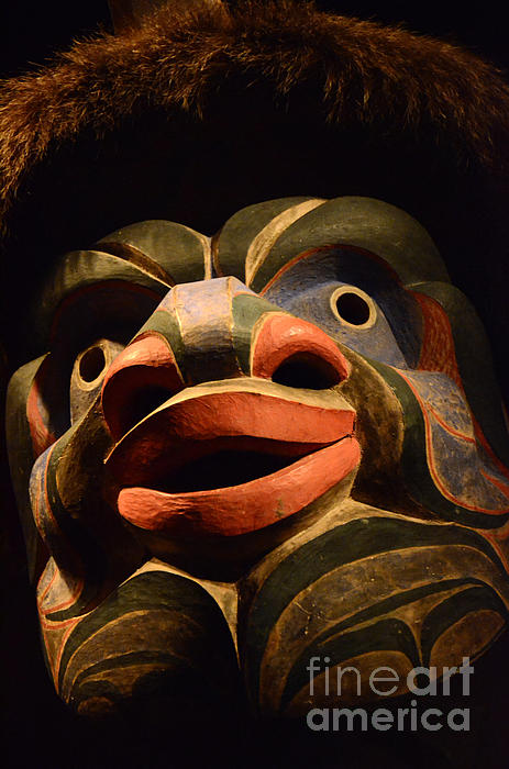 Haida Carved Wooden Mask 2 Print by Bob Christopher