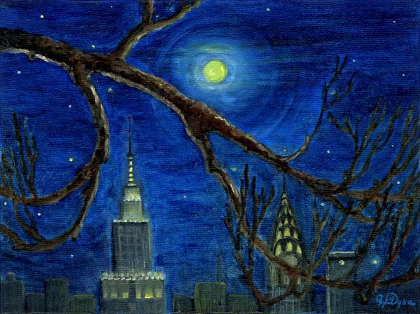 Halloween Night Over New York City Print by Anna Folkartanna Maciejewska-Dyba
