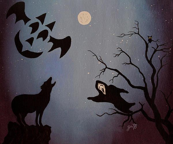 Halloween Night Party Original Painting Placemat Doormat Print by Georgeta  Blanaru
