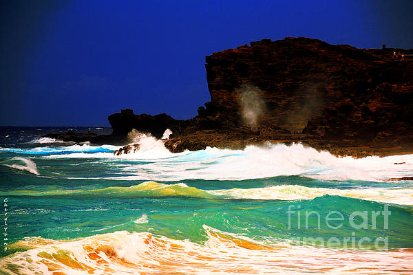 Halona Blowhole Print by Cheryl Young
