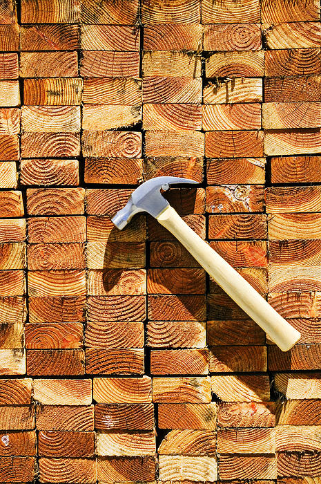 Hammer And Stack Of Lumber Print by Garry Gay
