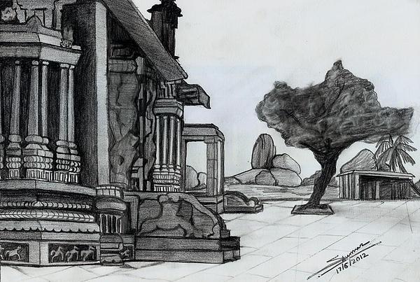 Hampi Stone Structure Print by Shashi Kumar