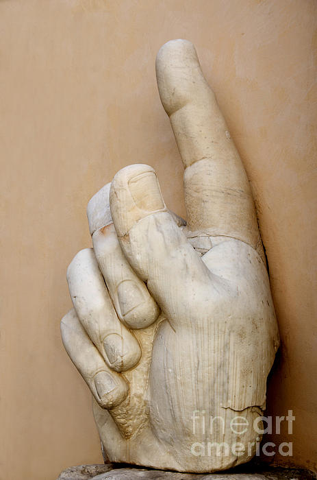 Hand With Pointing Index Finger. Statue Of Constantine. Palazzo Dei Conservatori. Capitoline Museums Print by Bernard Jaubert