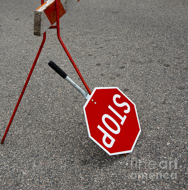 Handheld Stop Sign Print by Marlene Ford