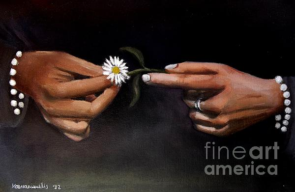 Hands And Daisy Print by Kostas Koutsoukanidis