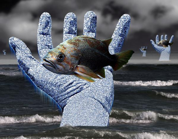 Hands Of The Lost Fishermen Print by Keith Dillon