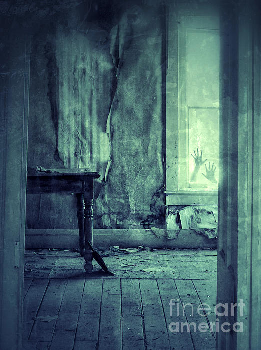 Hands On Window Of Creepy Old House Print by Jill Battaglia