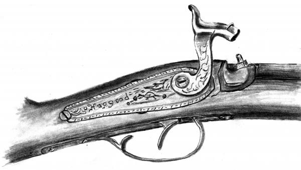 Hapgood Musket Drawing  - Hapgood Musket Fine Art Print