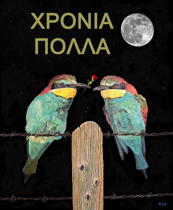 HAPPY BIRTHDAY Greek Bee Eaters Greeting Card For Sale By