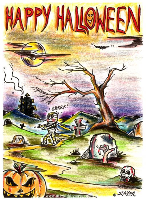 Happy Halloween Print by James Sayer