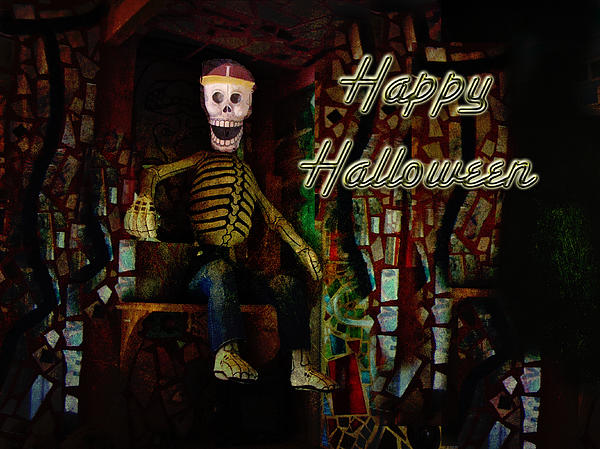 Happy Halloween Skeleton Greeting Card Print by Mother Nature
