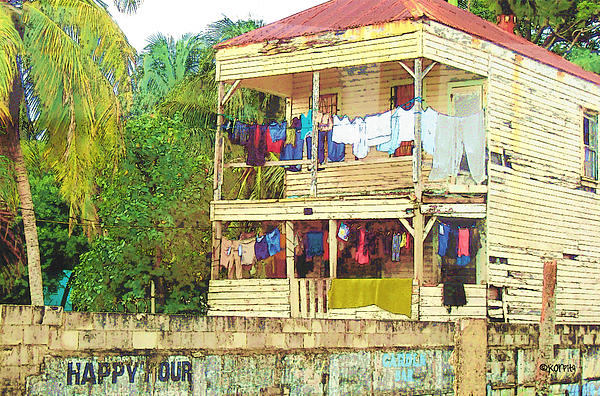 Happy Hour Washday Belize Print by Rebecca Korpita