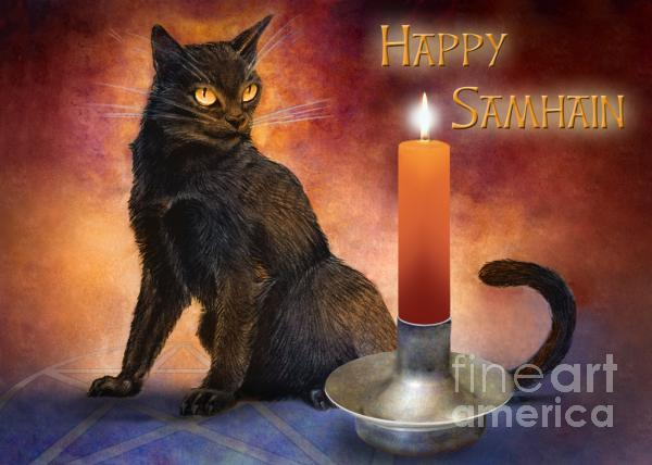 Happy Samhain Kitten And Candle Drawing  - Happy Samhain Kitten And Candle Fine Art Print