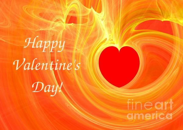 Happy Valentine Day Fractal Design Greeting Card Print by Yali Shi