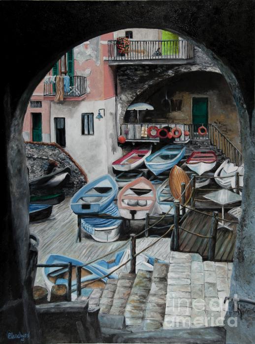Harbor's Edge In Riomaggiore Print by Charlotte Blanchard