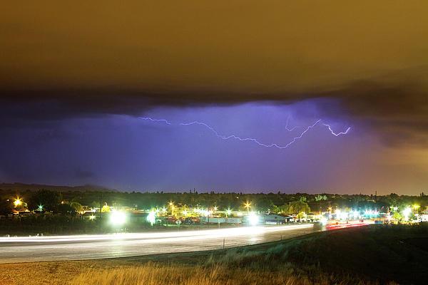 Hard Rain  Lightning Thunderstorm Over Loveland Colorado Print by James BO  Insogna