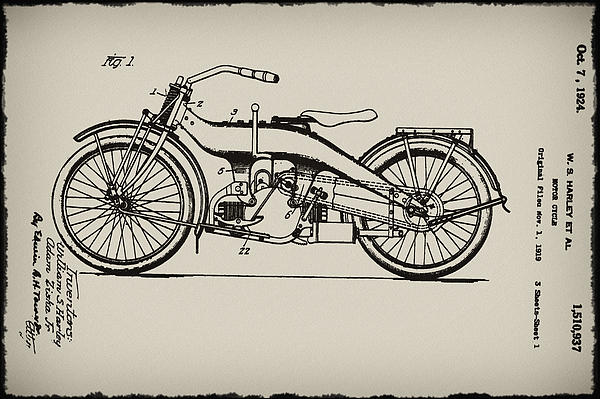 Harley Motorcycle Patent Print by Bill Cannon