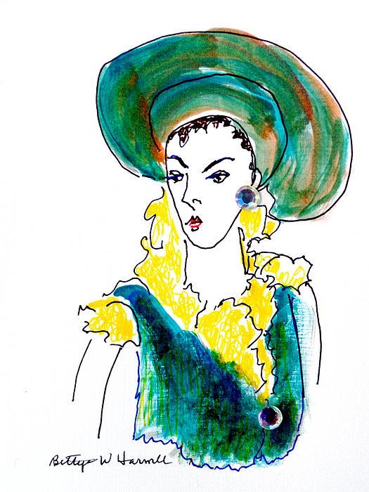 Hat Lady 16 Print by Bettye  Harwell