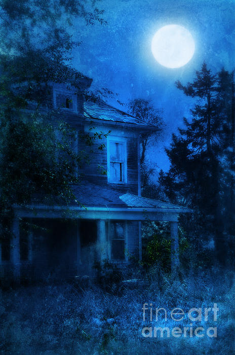 Haunted House Full Moon Print by Jill Battaglia