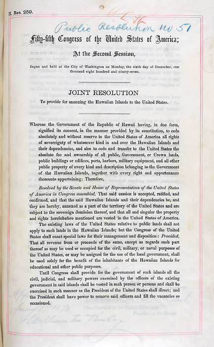 Hawaii. Joint Resolution To Provide Print by Everett