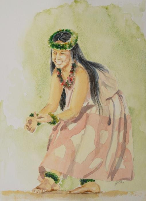 Hawaiian Dancer Print by Gretchen Bjornson