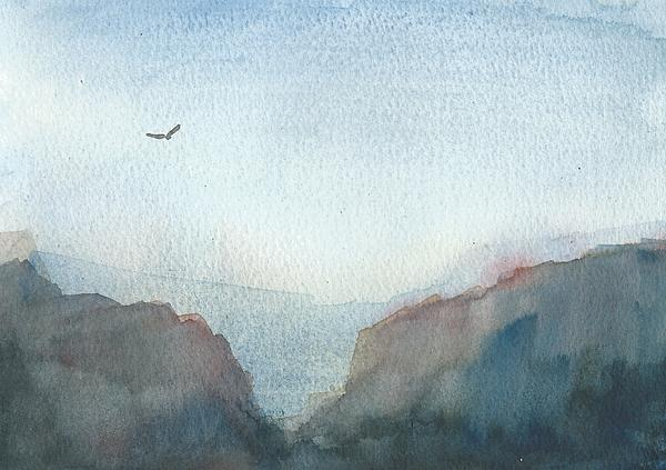 Hawk Above The Red Cliffs Print by Alan Daysh