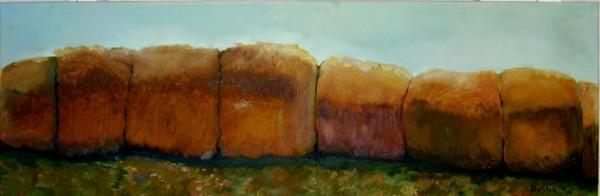 Haybales Print by Judy  Blundell