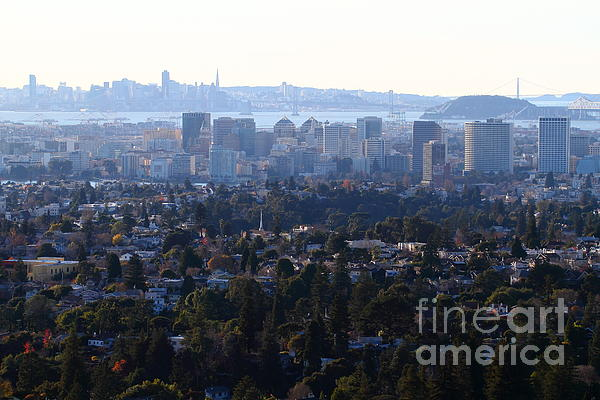 Hazy San Francisco Skyline Viewed Through The Oakland Skyline . 7d11341 Print by Wingsdomain Art and Photography