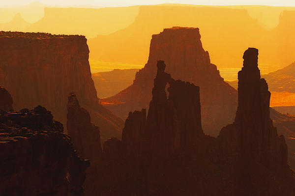 Hazy Sunrise Over Canyonlands National Park Utah Print by Utah Images