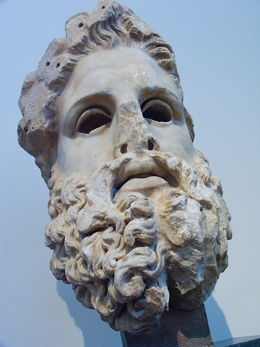 Head Of Zeus At The Acropolis Museum Print by Richard Nowitz