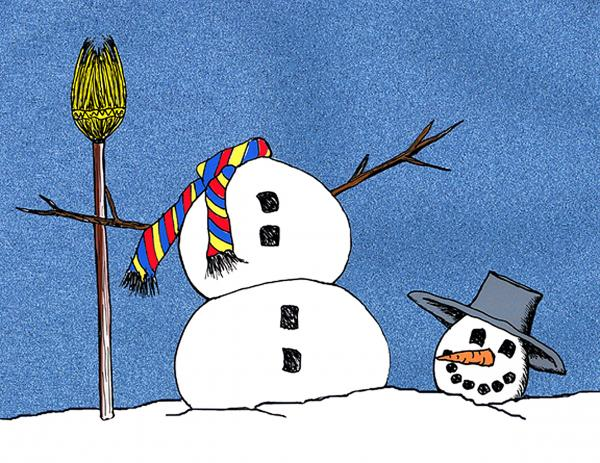Headless Snowman Print by Nancy Mueller