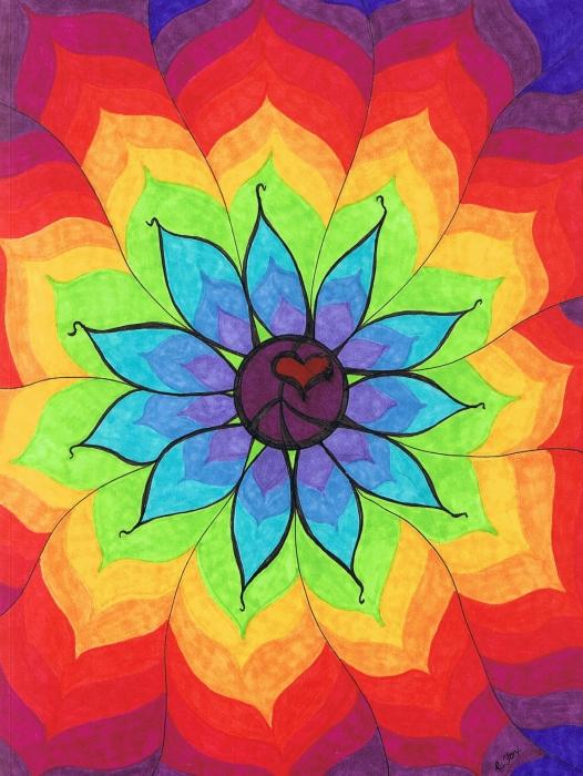 Heart Peace Mandala Print by Cheryl Fox
