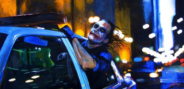 Heath Ledger As The Crazy Joker Painting