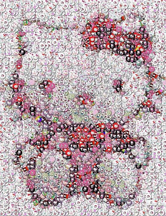 Hello Kitty Button Mosaic Print by Paul Van Scott