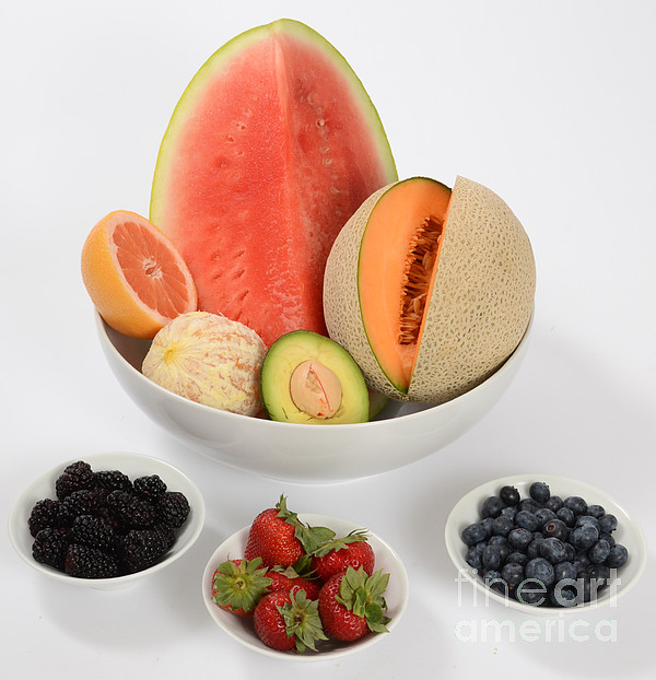 High Carbohydrate Fruit Print by Photo Researchers, Inc.