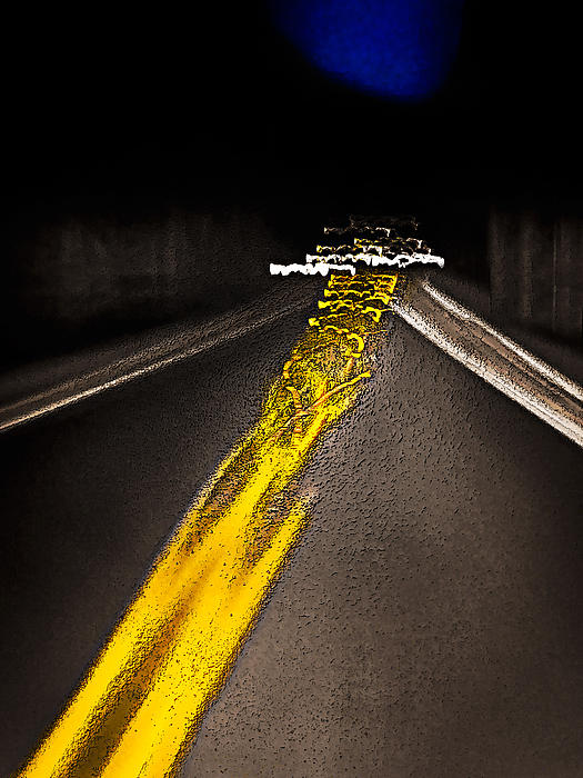 Highway Lines Dance At Night Photograph  - Highway Lines Dance At Night Fine Art Print