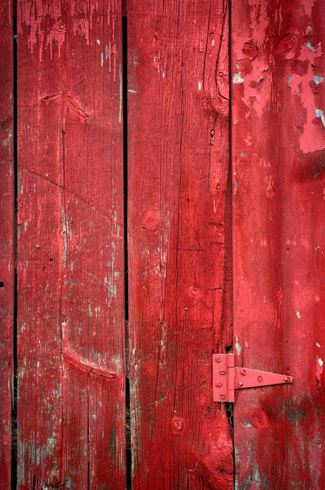 Hinge On A Red Barn Print by Steve Gadomski
