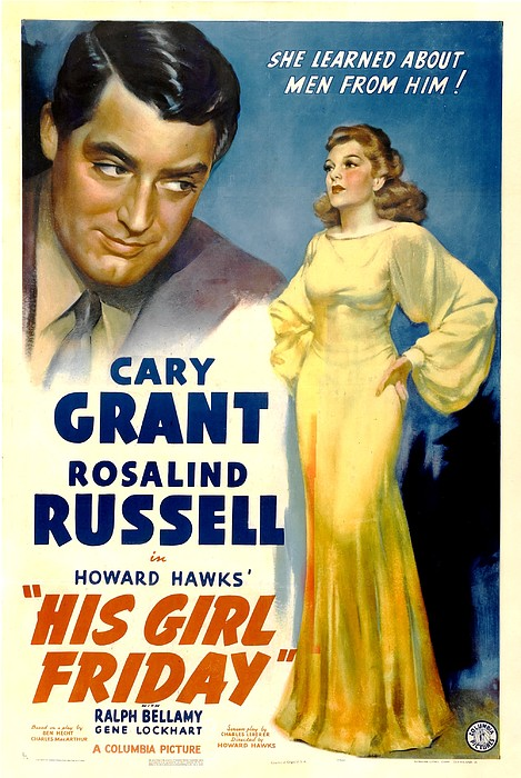 His Girl Friday, Cary Grant, Rosalind Print by Everett