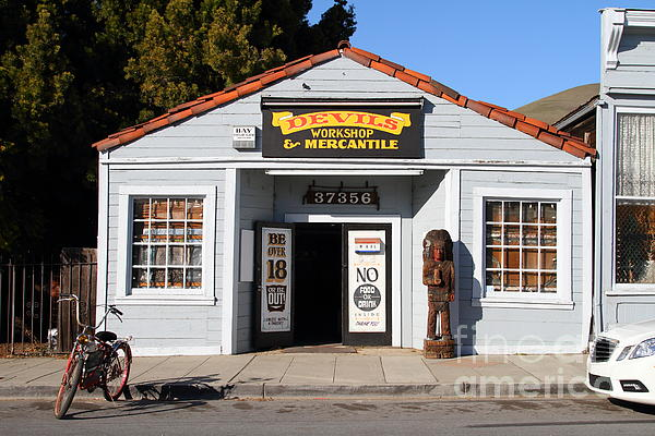 Historic Niles District In California.motorized Bike Outside Devils Workshop And Mercantile.7d12727 Print by Wingsdomain Art and Photography