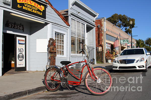 Historic Niles District In California.motorized Bike Outside Devils Workshop And Mercantile.7d12729 Print by Wingsdomain Art and Photography