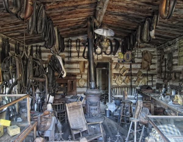 Historic Saddlery Shop - Montana Territory Print by Daniel Hagerman