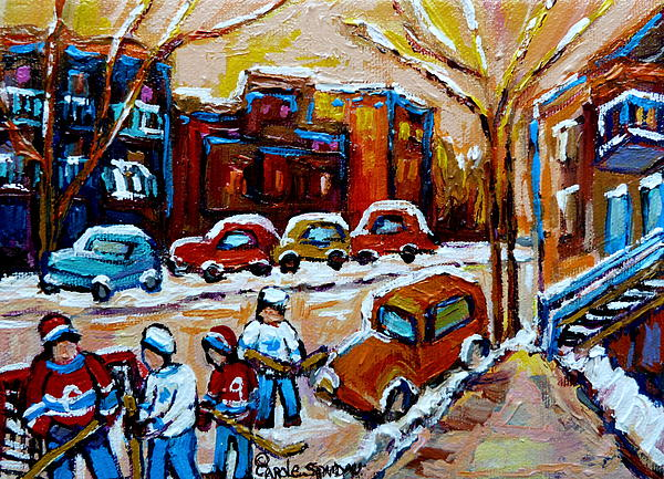Hockey Art Montreal Staircases In Winter Print by Carole Spandau