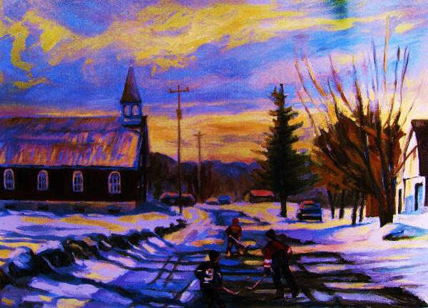 Hockey Game In The Village Print by Carole Spandau