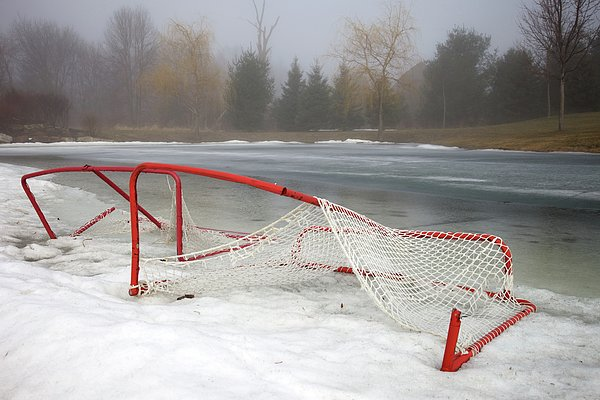 Hockey Net On Frozen Pond Print by Perry McKenna Photography