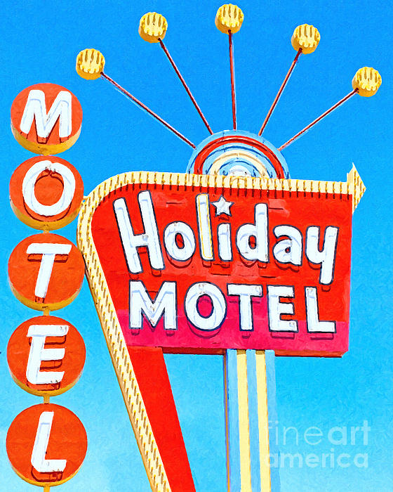 Holiday Motel Las Vegas Print by Wingsdomain Art and Photography
