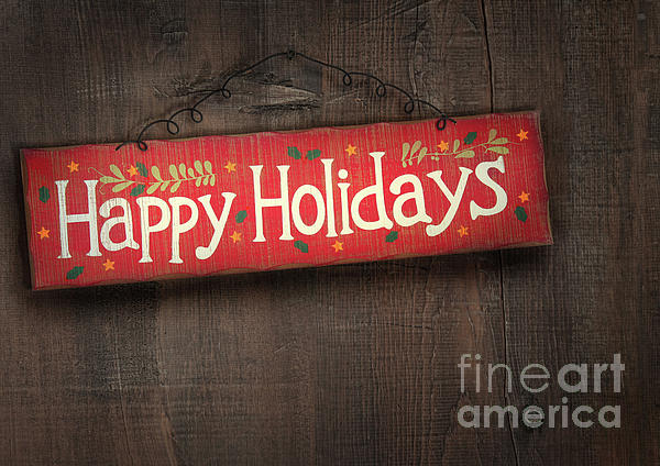 Holiday Sign On Distressed Wood Wall Print by Sandra Cunningham
