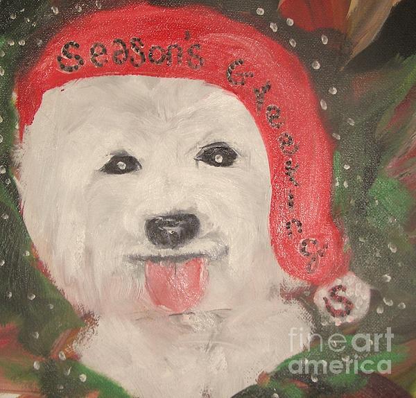 Holiday Westie Print by Rachel Carmichael