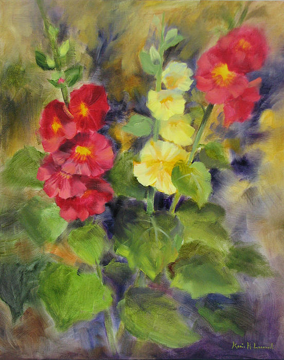 Hollyhocks Print by Karin  Leonard