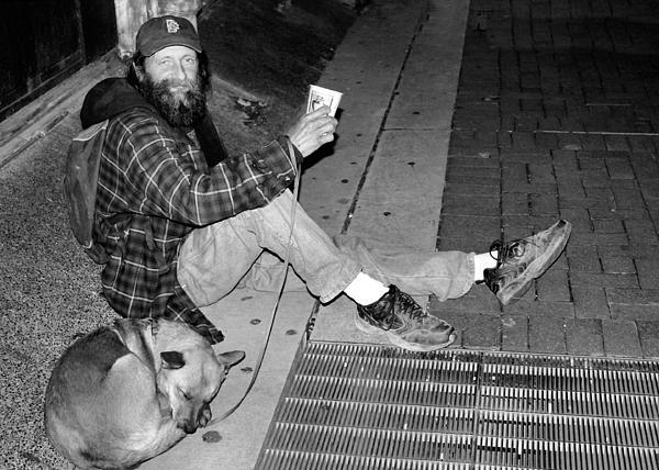 Homeless With Faithful Companion Print by Kristin Elmquist
