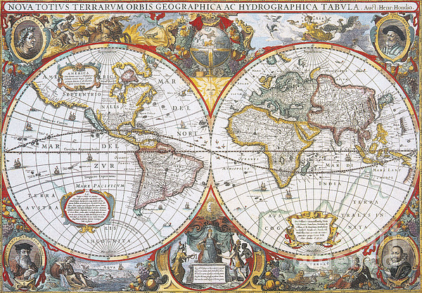 Hondius World Map, 1630 Print by Photo Researchers